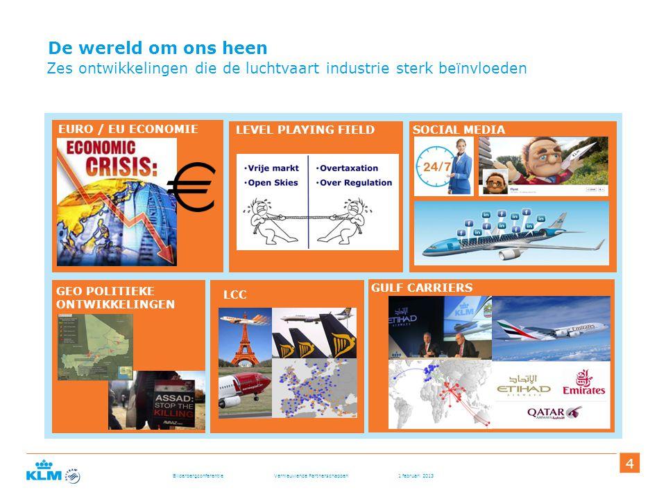 Bilderbergconferentie Vernieuwende Partnerschappen 1 februari 2013 444 De wereld om ons heen Zes ontwikkelingen die de luchtvaart industrie sterk beïn