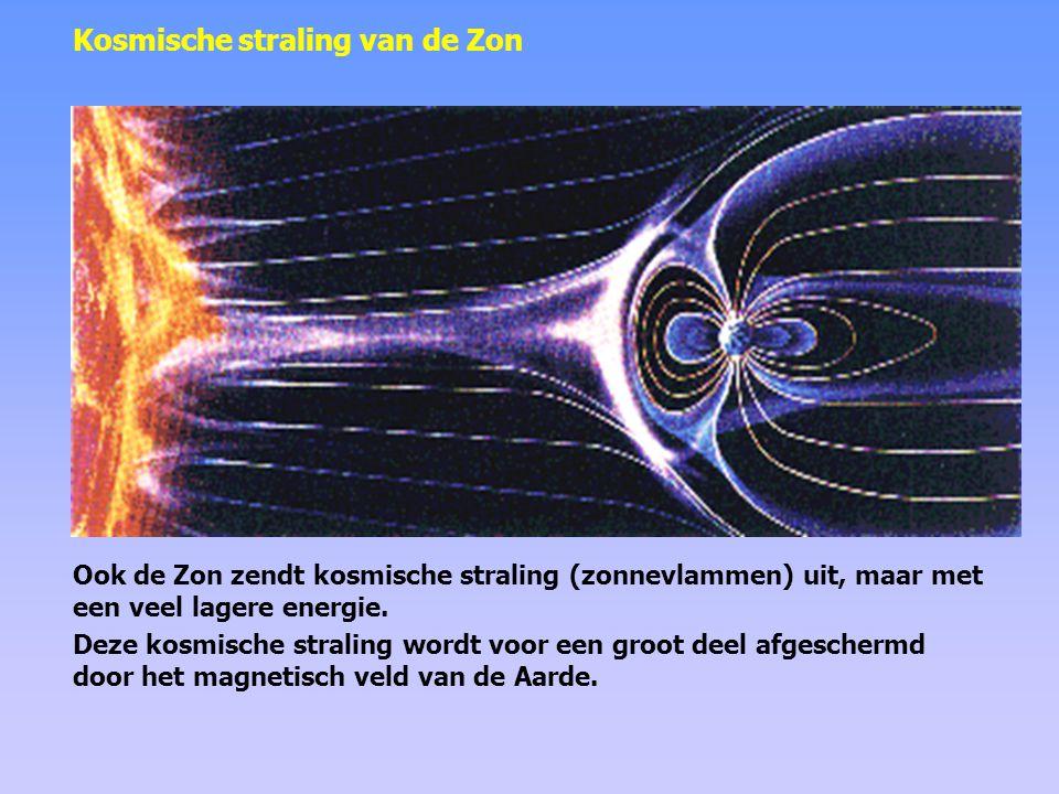 Laagenergetische kosmische straling van de Zon wordt voor een groot deel afgeschermd door het magnetisch veld van de Aarde.