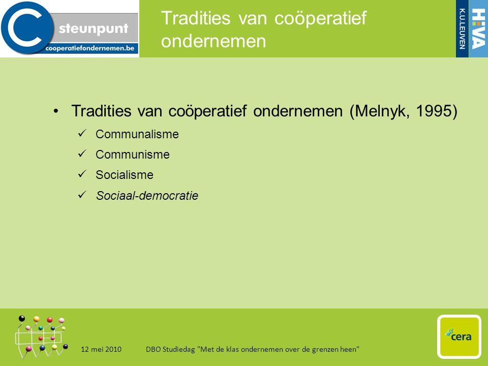 Belgische context 12 mei 2010DBO Studiedag Met de klas ondernemen over de grenzen heen 16 •Coöperaties in België: overzicht 30 000 coöperaties  +/- 500 erkende coöperaties  erfenis van een liberale wetgeving  prikkels tot aanvraag erkenning te beperkt.
