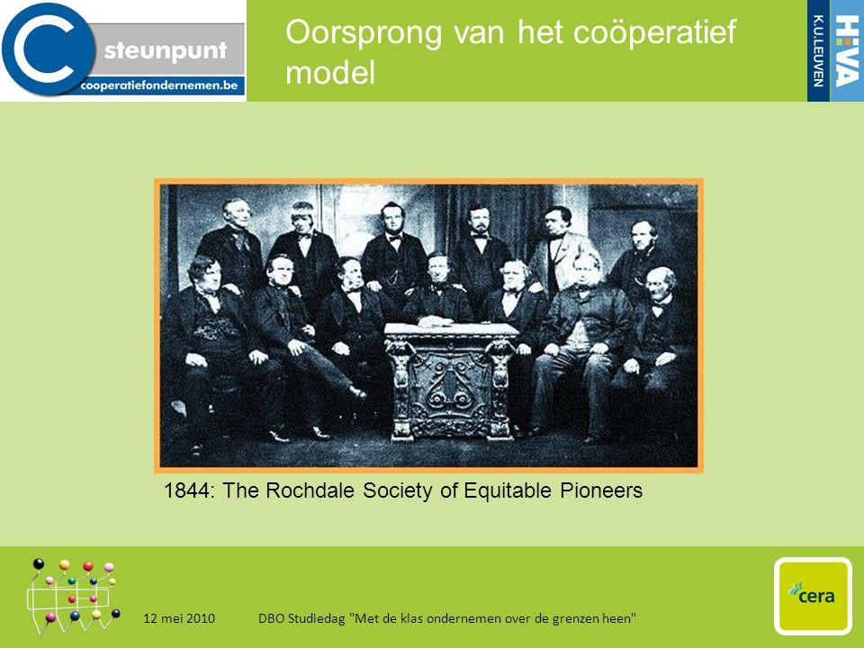 Oorsprong van het coöperatief model 12 mei 2010DBO Studiedag Met de klas ondernemen over de grenzen heen 6 1844: The Rochdale Society of Equitable Pioneers