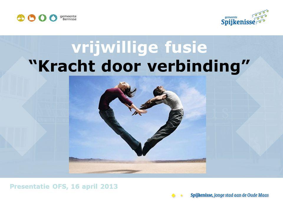 """vrijwillige fusie """"Kracht door verbinding"""" Presentatie OFS, 16 april 2013"""