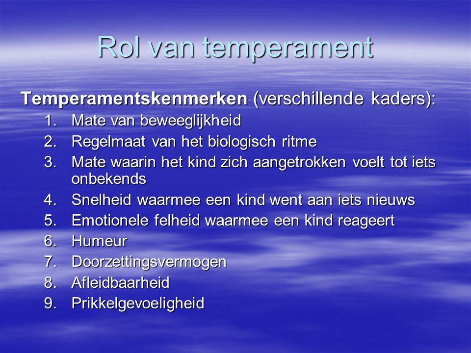 Rol van temperament Temperamentskenmerken (verschillende kaders): 1.Mate van beweeglijkheid 2.Regelmaat van het biologisch ritme 3.Mate waarin het kin