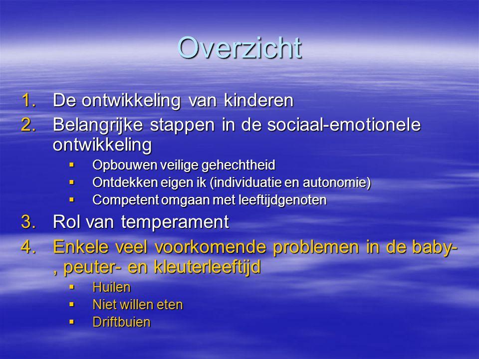 Overzicht 1.De ontwikkeling van kinderen 2.Belangrijke stappen in de sociaal-emotionele ontwikkeling  Opbouwen veilige gehechtheid  Ontdekken eigen
