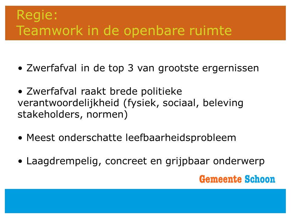 Regie: Teamwork in de openbare ruimte • Zwerfafval in de top 3 van grootste ergernissen • Zwerfafval raakt brede politieke verantwoordelijkheid (fysie
