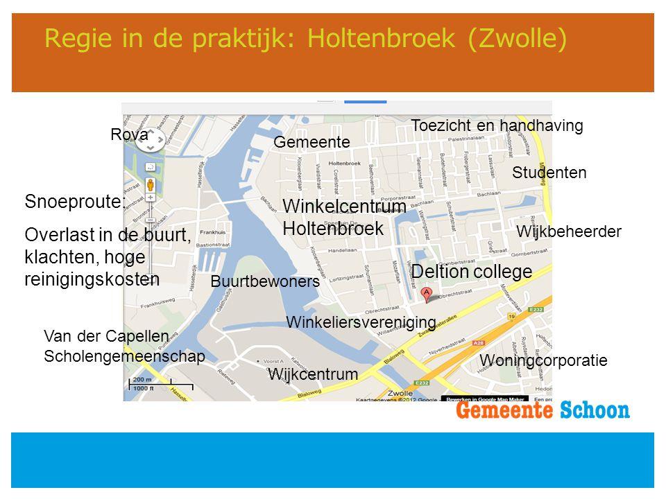 Regie in de praktijk: Holtenbroek (Zwolle) Deltion college Winkelcentrum Holtenbroek Buurtbewoners Studenten Wijkcentrum Rova Gemeente Van der Capelle
