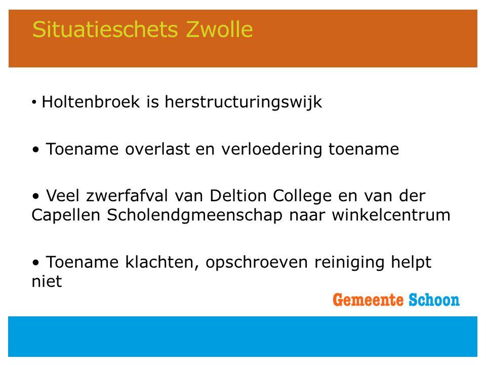 Situatieschets Zwolle • Holtenbroek is herstructuringswijk • Toename overlast en verloedering toename • Veel zwerfafval van Deltion College en van der
