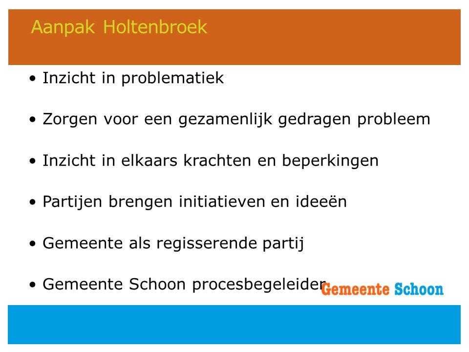 Aanpak Holtenbroek • Inzicht in problematiek • Zorgen voor een gezamenlijk gedragen probleem • Inzicht in elkaars krachten en beperkingen • Partijen b