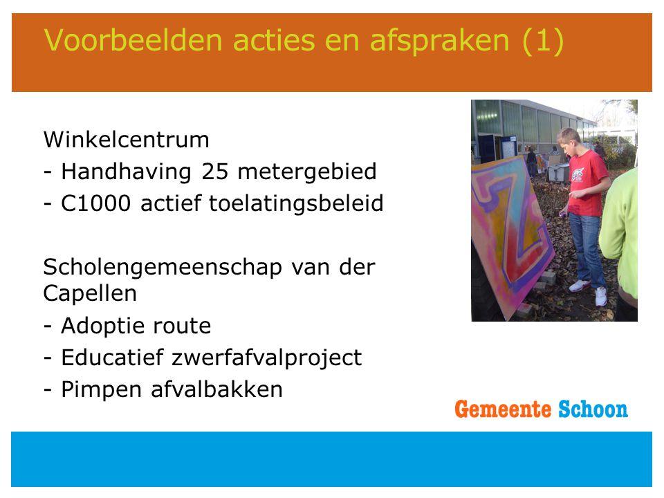 Voorbeelden acties en afspraken (1) Winkelcentrum - Handhaving 25 metergebied - C1000 actief toelatingsbeleid Scholengemeenschap van der Capellen - Ad