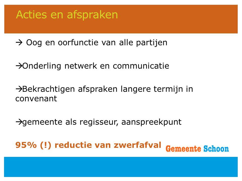 Acties en afspraken  Oog en oorfunctie van alle partijen  Onderling netwerk en communicatie  Bekrachtigen afspraken langere termijn in convenant 