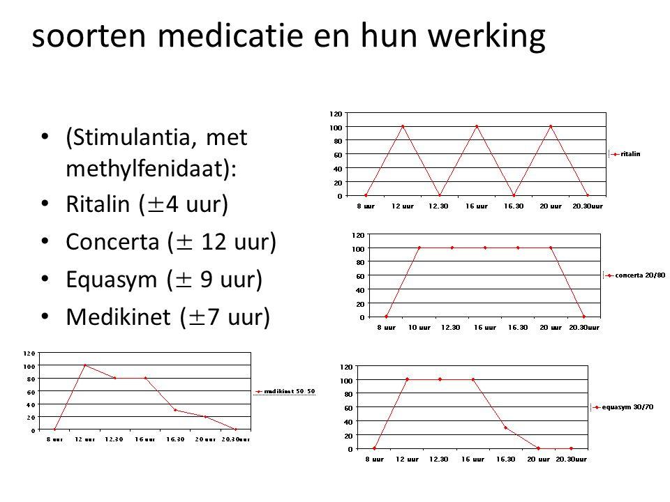 soorten medicatie en hun werking • (Stimulantia, met methylfenidaat): • Ritalin (±4 uur) • Concerta (± 12 uur) • Equasym (± 9 uur) • Medikinet (±7 uur)