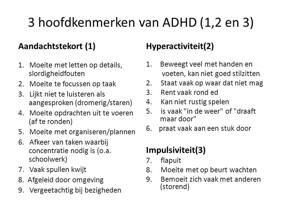 3 hoofdkenmerken van ADHD (1,2 en 3) Aandachtstekort (1) 1. Moeite met letten op details, slordigheidfouten 2. Moeite te focussen op taak 3. Lijkt nie