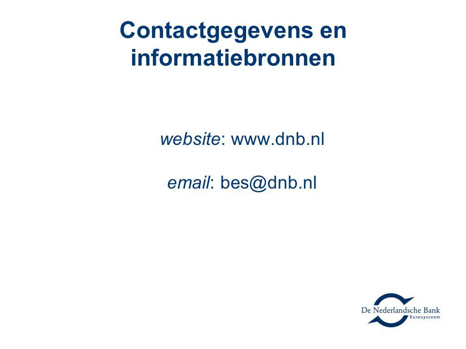 Contactgegevens en informatiebronnen website: www.dnb.nl email: bes@dnb.nl