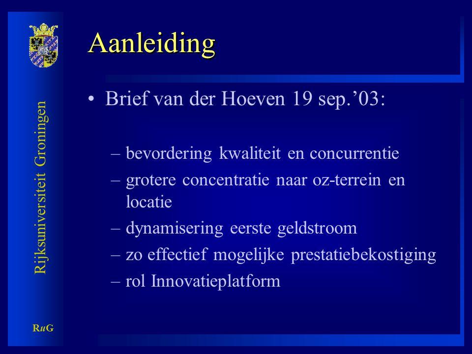 Rijksuniversiteit Groningen RuGRuG Aanleiding •Interview Nijs Volkskrant 18 okt.'03: –niet langer betalen naar aantal studenten, maar naar kwaliteit –sturen op profiel –participatie allochtonen, doorstroom HBO, meer vrouwen