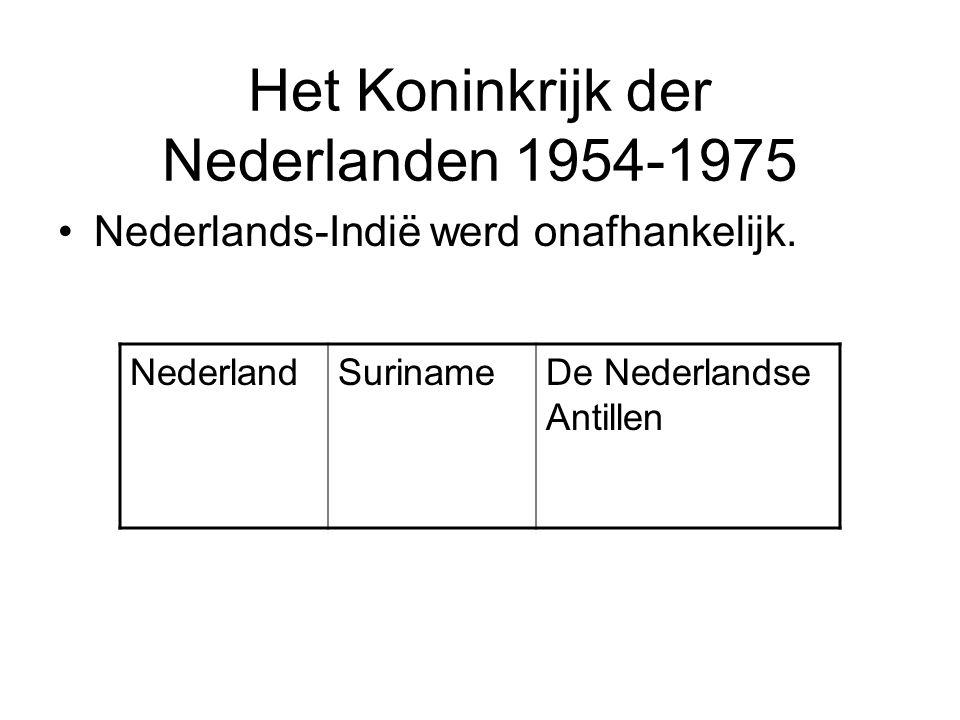 Het Koninkrijk der Nederlanden 1954-1975 •Nederlands-Indië werd onafhankelijk. NederlandSurinameDe Nederlandse Antillen