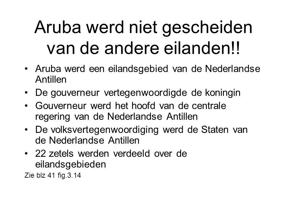 Aruba werd niet gescheiden van de andere eilanden!! •Aruba werd een eilandsgebied van de Nederlandse Antillen •De gouverneur vertegenwoordigde de koni