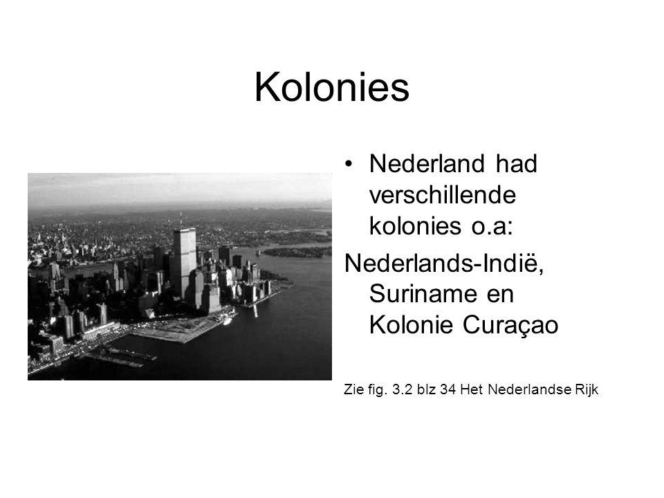 Kolonies •Nederland had verschillende kolonies o.a: Nederlands-Indië, Suriname en Kolonie Curaçao Zie fig. 3.2 blz 34 Het Nederlandse Rijk