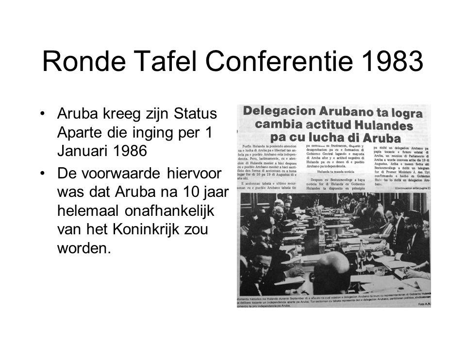 Ronde Tafel Conferentie 1983 •Aruba kreeg zijn Status Aparte die inging per 1 Januari 1986 •De voorwaarde hiervoor was dat Aruba na 10 jaar helemaal o
