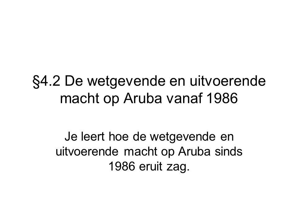 §4.2 De wetgevende en uitvoerende macht op Aruba vanaf 1986 Je leert hoe de wetgevende en uitvoerende macht op Aruba sinds 1986 eruit zag.