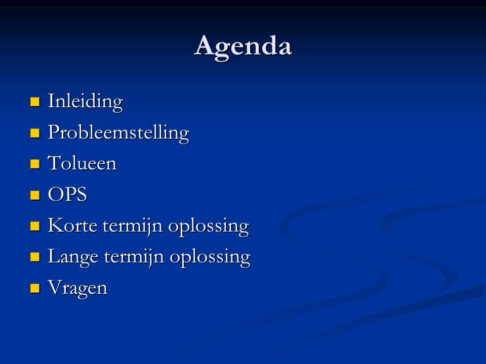 Agenda  Inleiding  Probleemstelling  Tolueen  OPS  Korte termijn oplossing  Lange termijn oplossing  Vragen