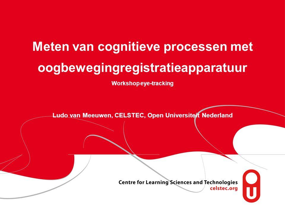 1 Informatie zoeken op het web 15 oktober 2010 Meten van cognitieve processen met oogbewegingregistratieapparatuur Workshop eye-tracking Ludo van Meeuwen, CELSTEC, Open Universiteit Nederland