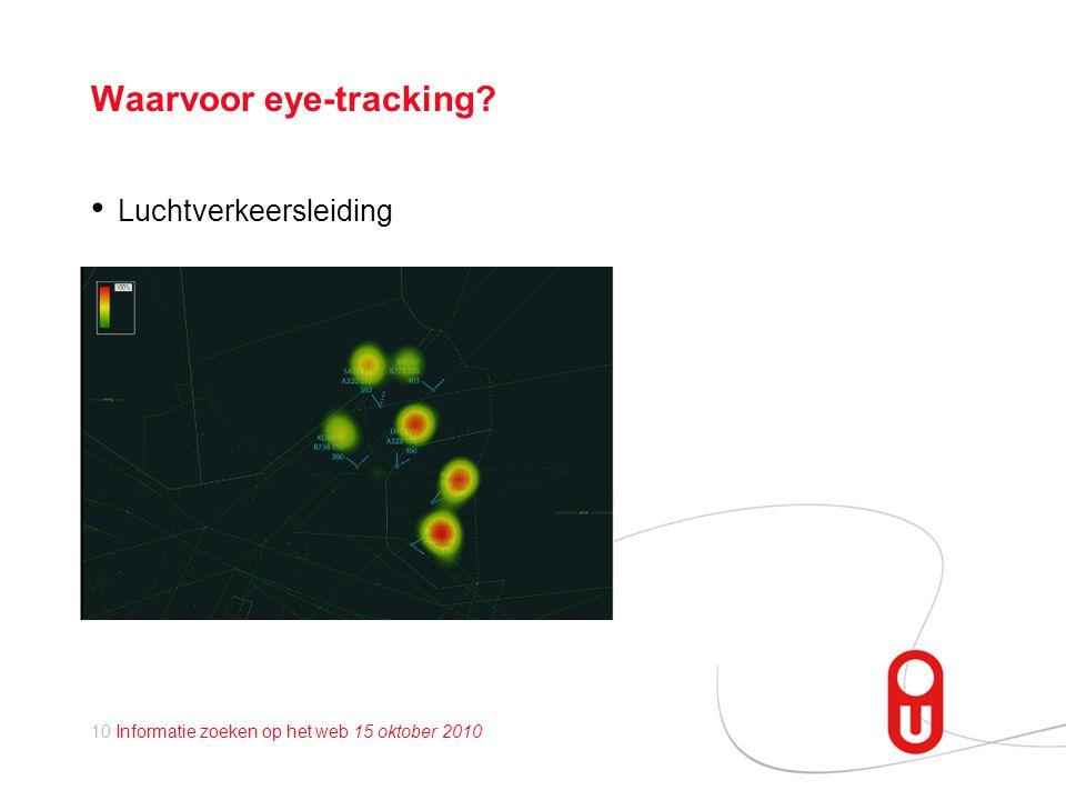 10 Informatie zoeken op het web 15 oktober 2010 Waarvoor eye-tracking? • Luchtverkeersleiding