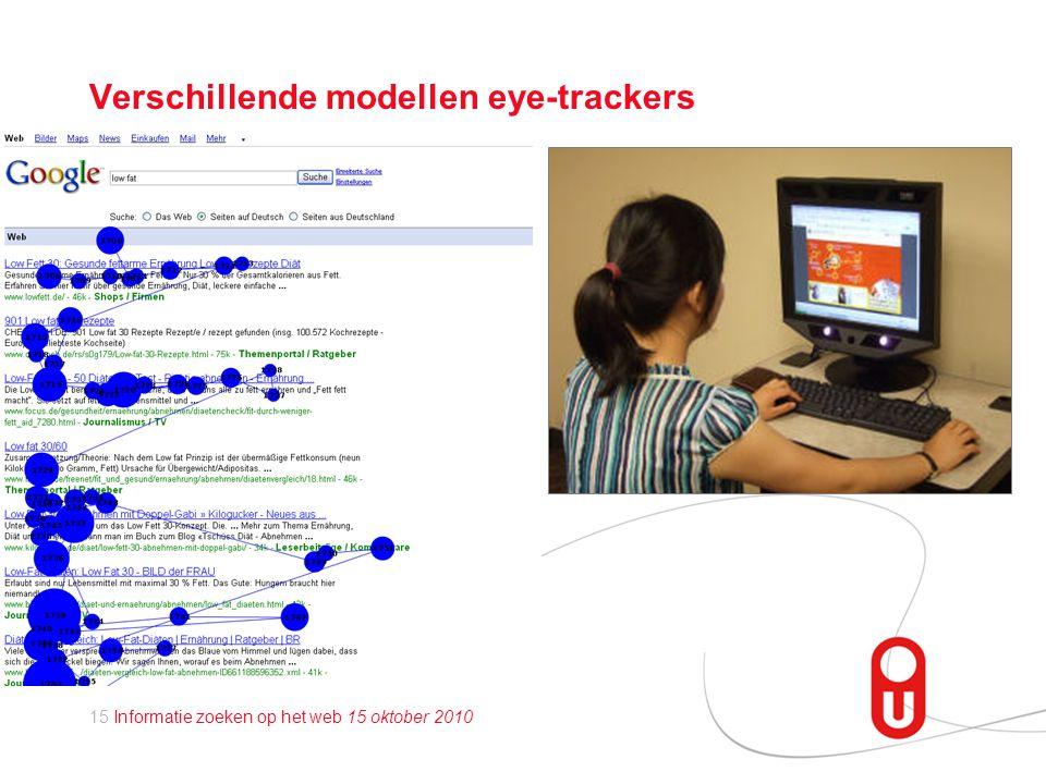 15 Informatie zoeken op het web 15 oktober 2010 Verschillende modellen eye-trackers