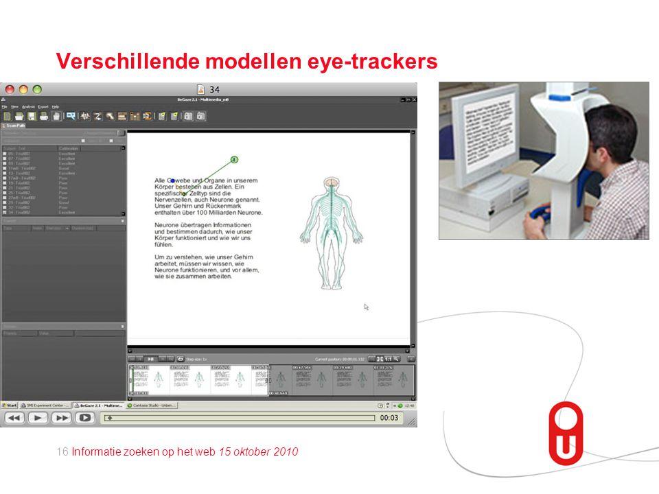 16 Informatie zoeken op het web 15 oktober 2010 Verschillende modellen eye-trackers