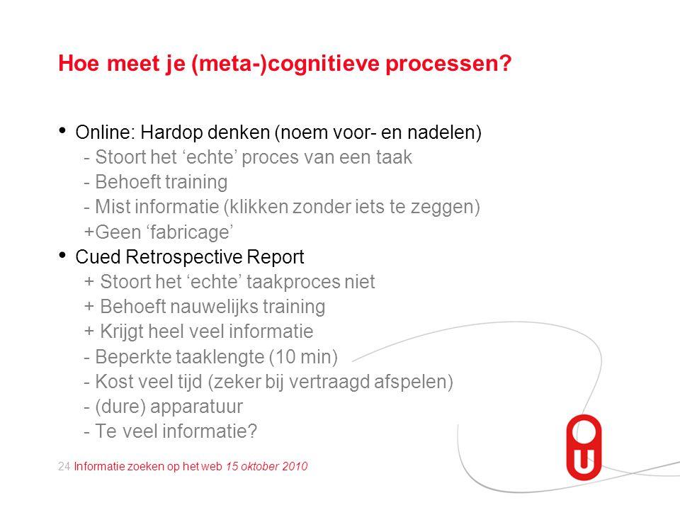 24 Informatie zoeken op het web 15 oktober 2010 Hoe meet je (meta-)cognitieve processen.