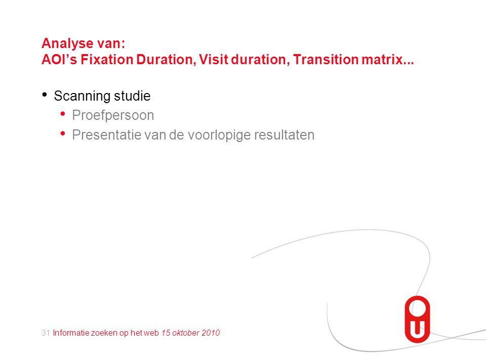 31 Informatie zoeken op het web 15 oktober 2010 Analyse van: AOI's Fixation Duration, Visit duration, Transition matrix...