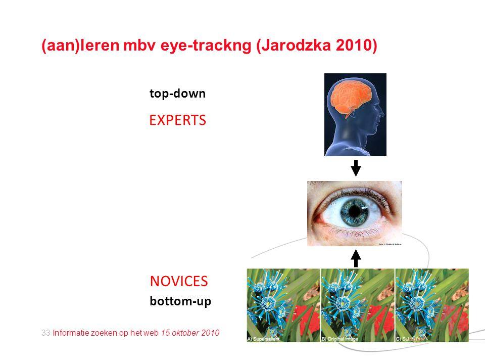 33 Informatie zoeken op het web 15 oktober 2010 (aan)leren mbv eye-trackng (Jarodzka 2010) top-down bottom-up NOVICES EXPERTS