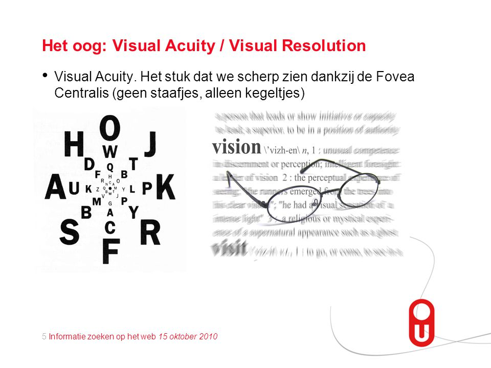 5 Informatie zoeken op het web 15 oktober 2010 Het oog: Visual Acuity / Visual Resolution • Visual Acuity.