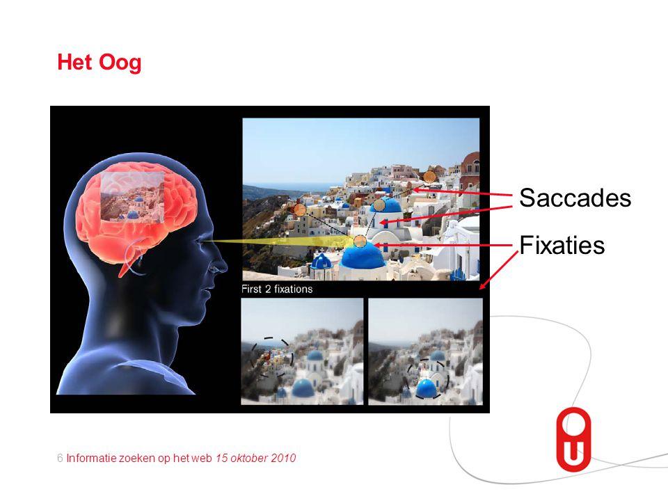 6 Informatie zoeken op het web 15 oktober 2010 Het Oog Saccades Fixaties