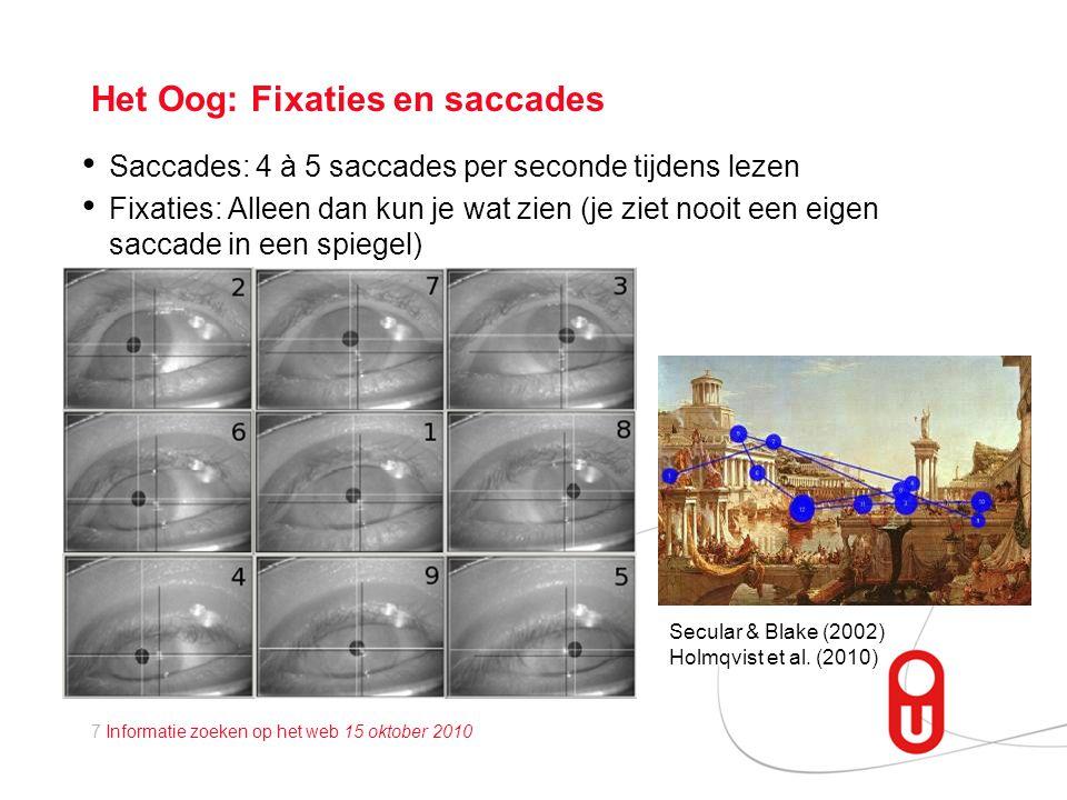 7 Informatie zoeken op het web 15 oktober 2010 Het Oog: Fixaties en saccades • Saccades: 4 à 5 saccades per seconde tijdens lezen • Fixaties: Alleen dan kun je wat zien (je ziet nooit een eigen saccade in een spiegel) Secular & Blake (2002) Holmqvist et al.