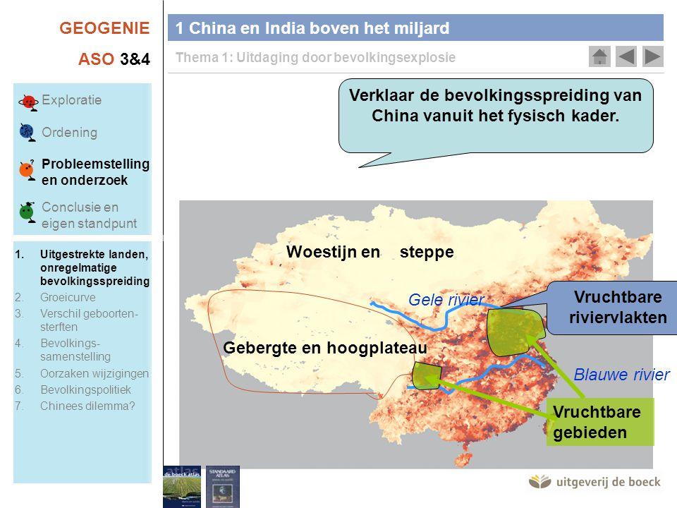GEOGENIE ASO 3&4 1 China en India boven het miljard Thema 1: Uitdaging door bevolkingsexplosie Verklaar de bevolkingsspreiding van China vanuit het fysisch kader.