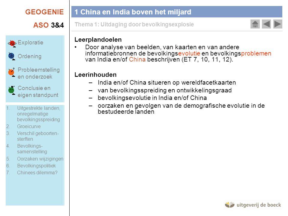 GEOGENIE ASO 3&4 Leerplandoelen •Door analyse van beelden, van kaarten en van andere informatiebronnen de bevolkingsevolutie en bevolkingsproblemen van India en/of China beschrijven (ET 7, 10, 11, 12).