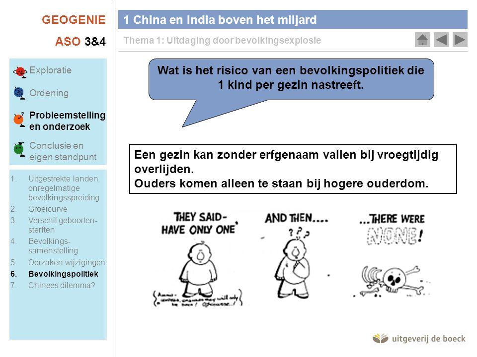 GEOGENIE ASO 3&4 1 China en India boven het miljard Thema 1: Uitdaging door bevolkingsexplosie Wat is het risico van een bevolkingspolitiek die 1 kind per gezin nastreeft.