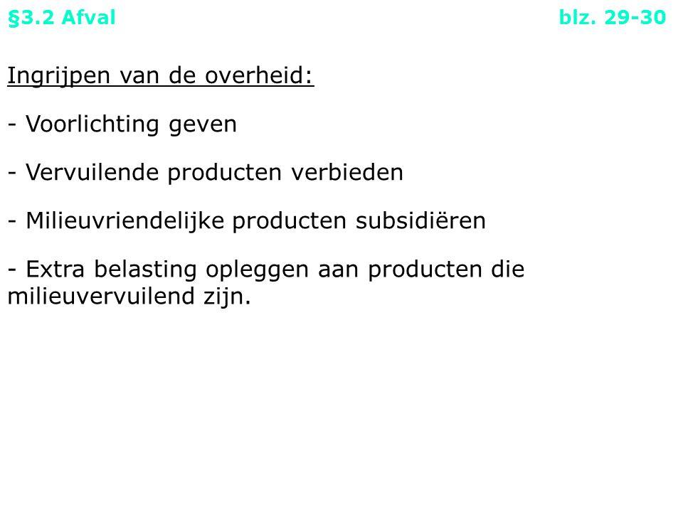 Ingrijpen van de overheid: - Voorlichting geven - Vervuilende producten verbieden §3.2 Afval blz.