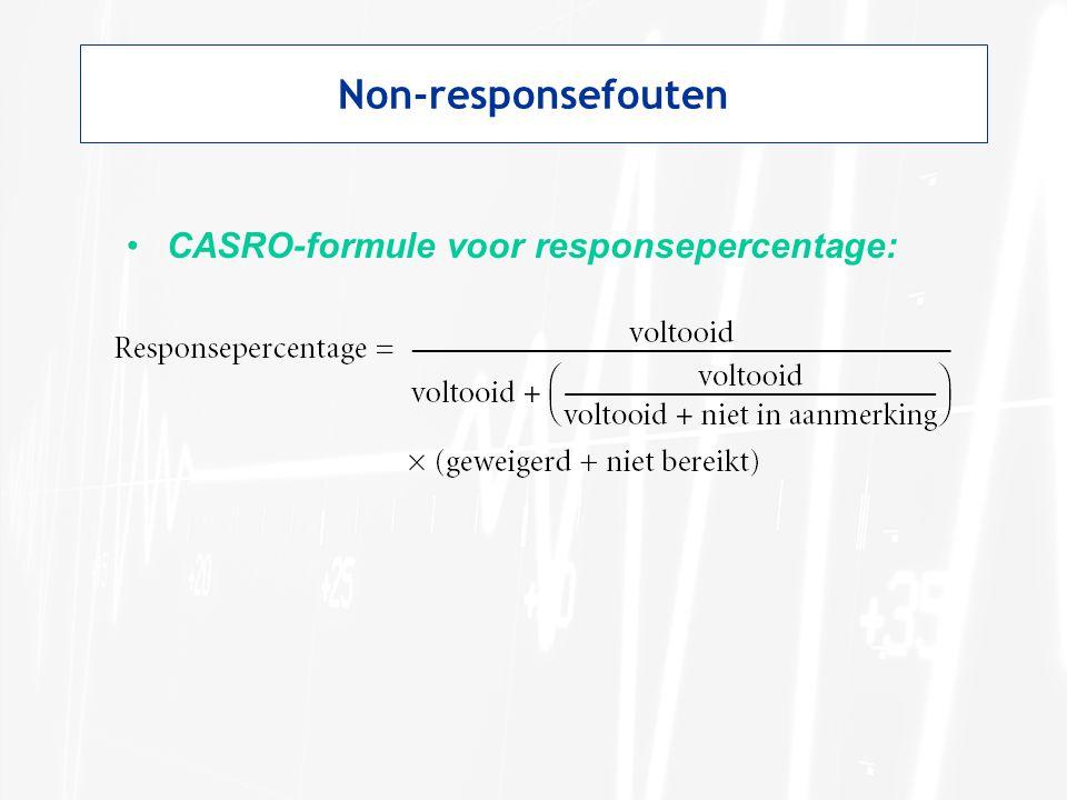 Non-responsefouten •CASRO-formule voor responsepercentage: