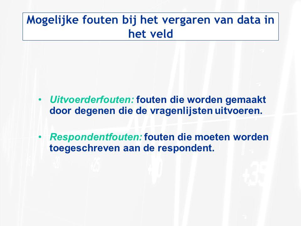 Mogelijke fouten bij het vergaren van data in het veld •Uitvoerderfouten: fouten die worden gemaakt door degenen die de vragenlijsten uitvoeren. •Resp