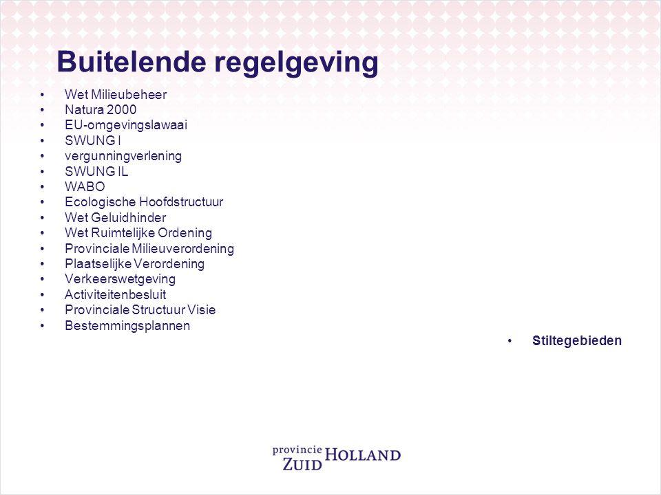 Buitelende regelgeving •Wet Milieubeheer •Natura 2000 •EU-omgevingslawaai •SWUNG I •vergunningverlening •SWUNG IL •WABO •Ecologische Hoofdstructuur •W