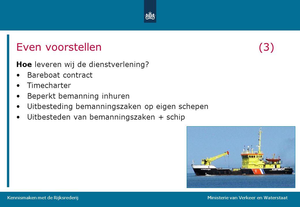 Kennismaken met de Rijksrederij Ministerie van Verkeer en Waterstaat Hoe leveren wij de dienstverlening? •Bareboat contract •Timecharter •Beperkt bema