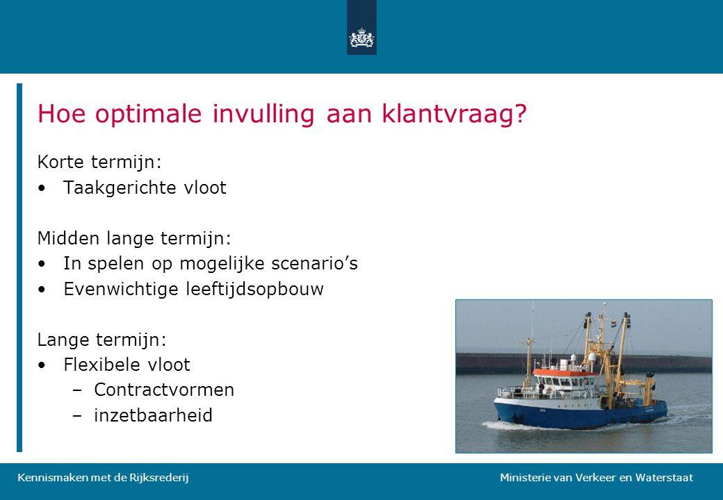 Kennismaken met de Rijksrederij Ministerie van Verkeer en Waterstaat Hoe optimale invulling aan klantvraag? Korte termijn: •Taakgerichte vloot Midden