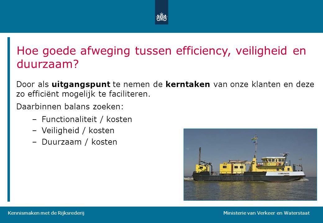 Kennismaken met de Rijksrederij Ministerie van Verkeer en Waterstaat Hoe goede afweging tussen efficiency, veiligheid en duurzaam? Door als uitgangspu