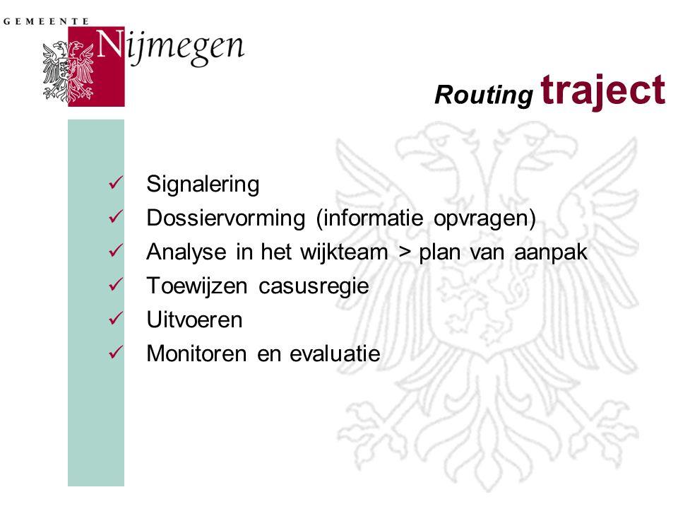 Routing traject  Signalering  Dossiervorming (informatie opvragen)  Analyse in het wijkteam > plan van aanpak  Toewijzen casusregie  Uitvoeren 