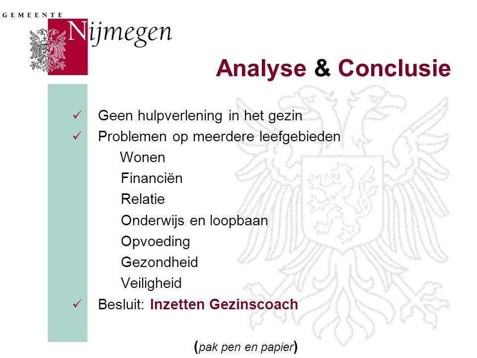 Analyse & Conclusie  Geen hulpverlening in het gezin  Problemen op meerdere leefgebieden Wonen Financiën Relatie Onderwijs en loopbaan Opvoeding Gez