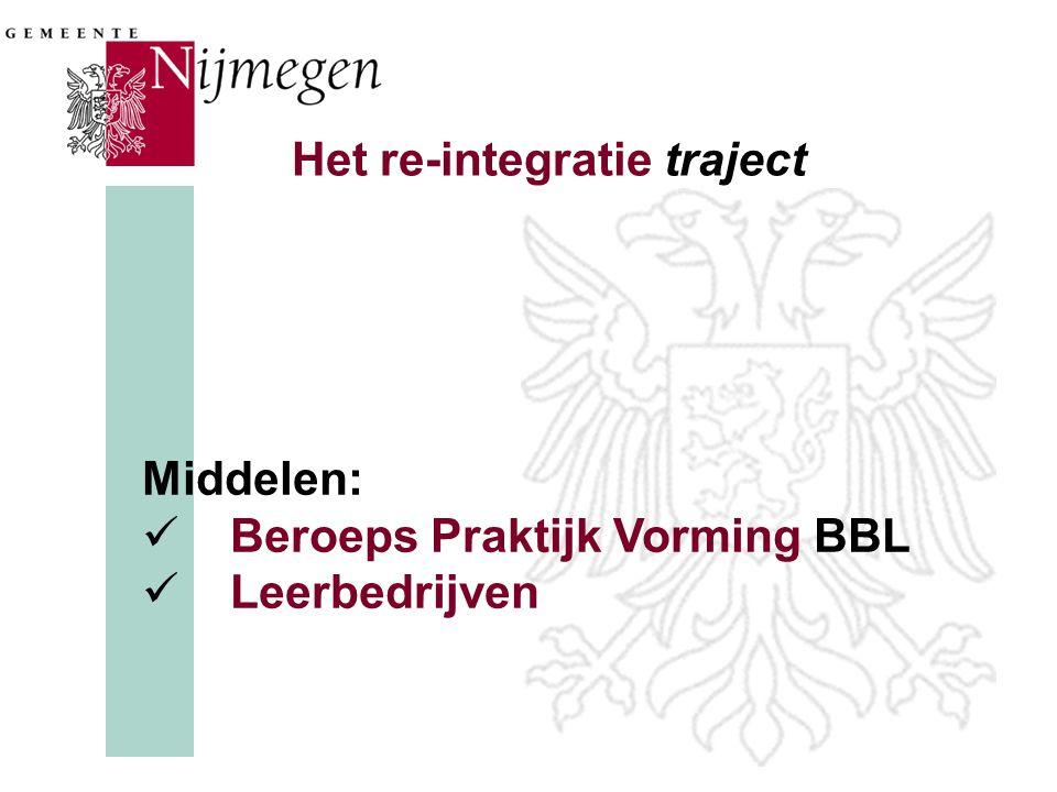 Het re-integratie traject Middelen:  Beroeps Praktijk Vorming BBL  Leerbedrijven