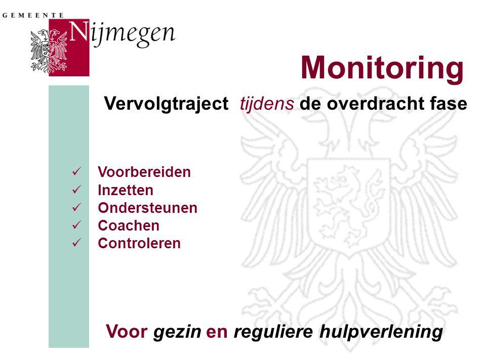 Monitoring  Voorbereiden  Inzetten  Ondersteunen  Coachen  Controleren Voor gezin en reguliere hulpverlening Vervolgtraject tijdens de overdracht