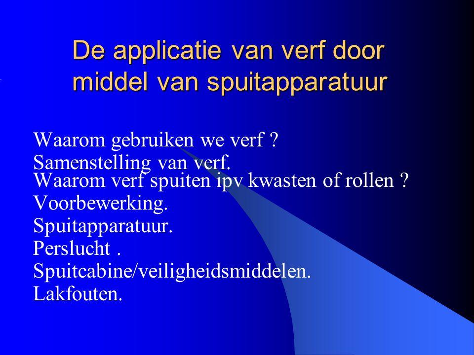 De applicatie van verf door middel van spuitapparatuur Waarom gebruiken we verf .