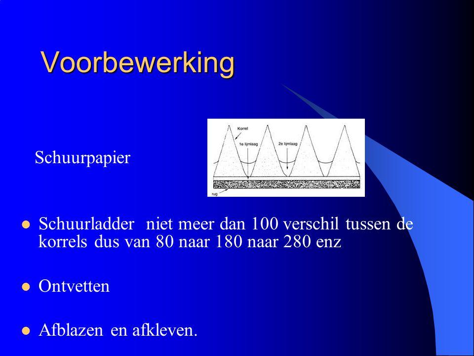 Voorbewerking Schuurpapier  Schuurladder niet meer dan 100 verschil tussen de korrels dus van 80 naar 180 naar 280 enz  Ontvetten  Afblazen en afkleven.