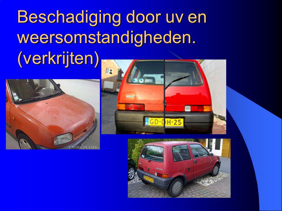 Lakopbouw auto 1 = staal 2 = zink 3 = fosfateringslaag 4 = Kataforese laag van Epoxyprimer 5 =Filler 6 = Kleur 7 = Blanke laklaag 8 = Beschermlaag van Bitumen of PVC
